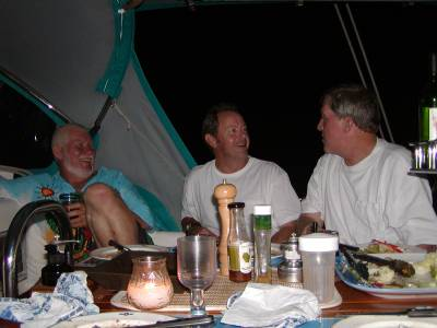 Ron, Dave, and Chip relax after our arrival dinner