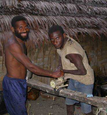 Grinding the kava root