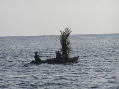 Islanders use palm fronds as sails on their canoes