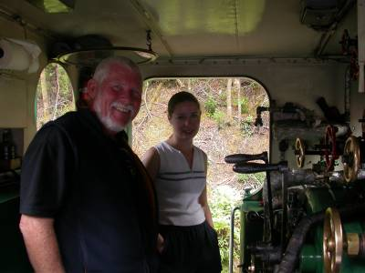 Ron chats with the engineer on the Wilderness Railroad