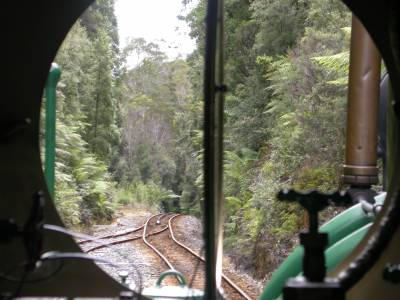 View through the engine window on the Wildness Railroad
