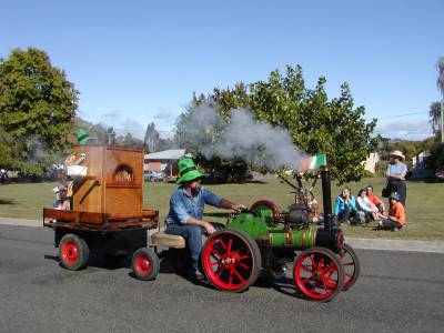 A small steam engine in the St. Patty's Day parade